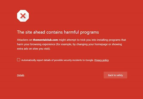 how to remove error, the site ahead contains harmful programs